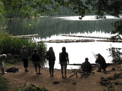 students at the lake