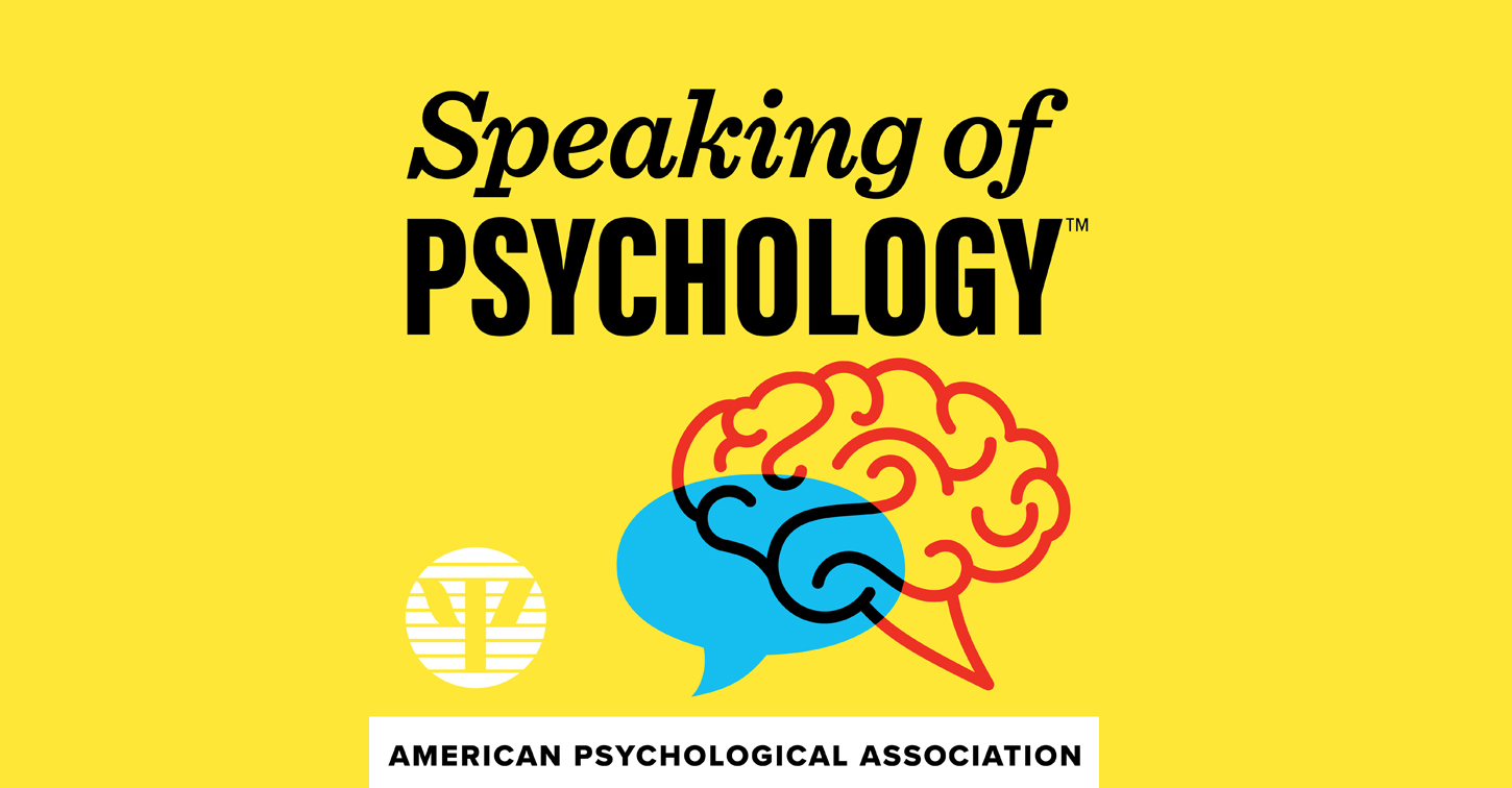 Speaking of Psychology Podcast logo yellow field with red brain outline and blue thought bubble