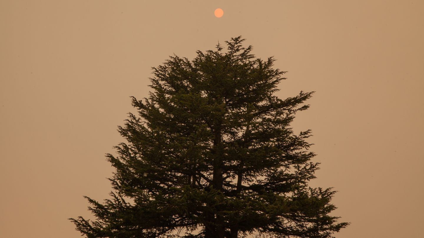 A pink sun is barely visible against a smoke-filled sky. The air quality in Portland, OR was ranked the worst of all major cities in the world due to smoke blowing in from several surrounding wildfires. Thursday, Sept. 10, 2020. Claudia Meza